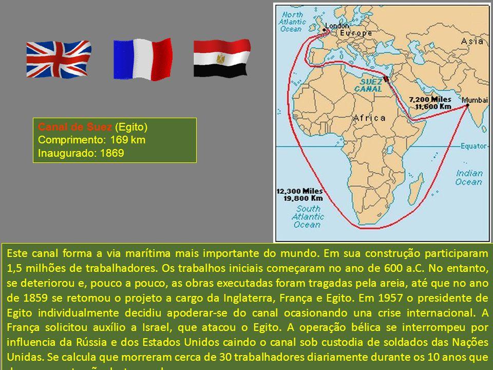 Canal de Suez (Egito) Comprimento: 169 km. Inaugurado: 1869.