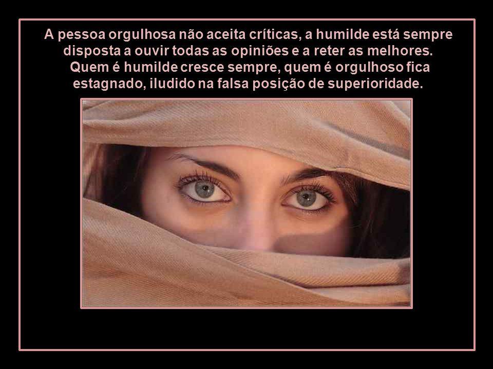 A pessoa orgulhosa não aceita críticas, a humilde está sempre disposta a ouvir todas as opiniões e a reter as melhores.