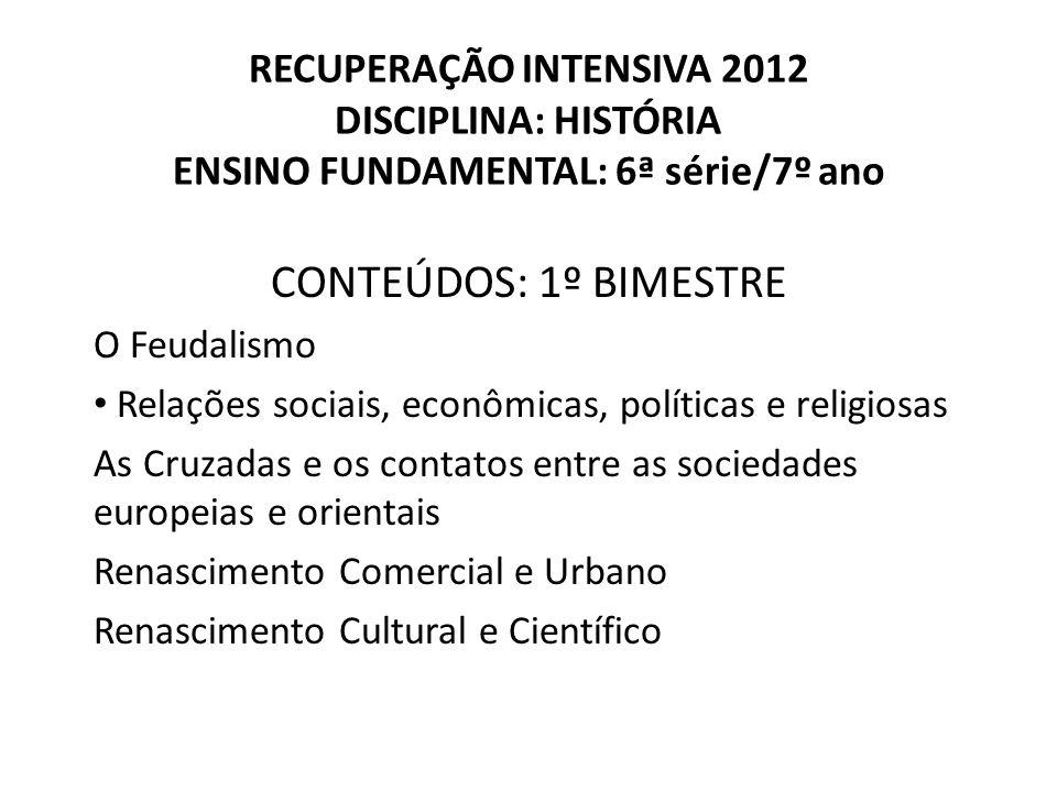 RECUPERAÇÃO INTENSIVA 2012 DISCIPLINA: HISTÓRIA ENSINO FUNDAMENTAL: 6ª série/7º ano