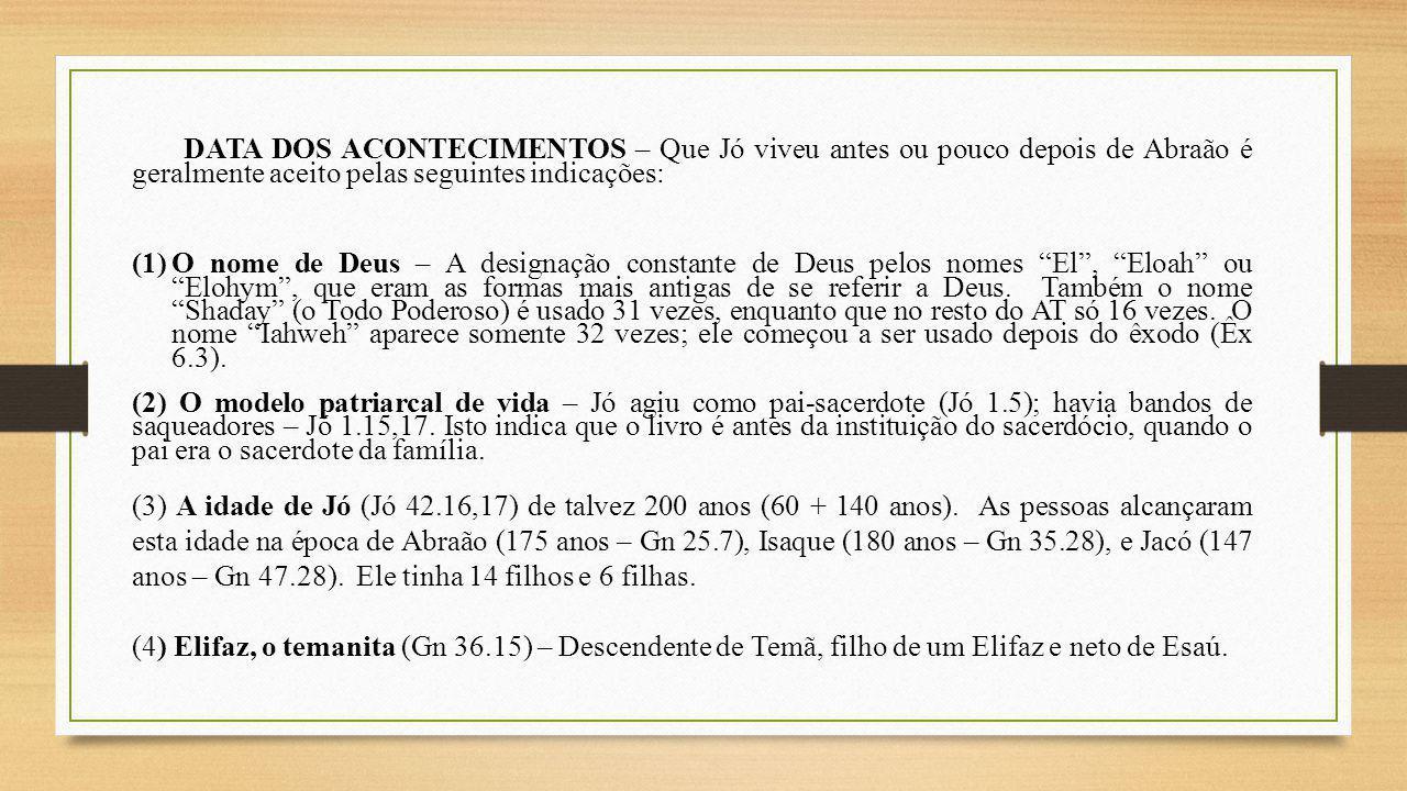 DATA DOS ACONTECIMENTOS – Que Jó viveu antes ou pouco depois de Abraão é geralmente aceito pelas seguintes indicações: