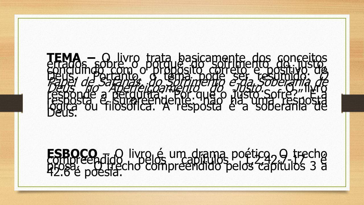 TEMA – O livro trata basicamente dos conceitos errados sobre o porquê do sofrimento do justo, concluindo com o propósito correto e positivo de Deus. Portanto, o tema pode ser resumido: O Papel de Satanás, do Sofrimento e da Soberania de Deus no Aperfeiçoamento do Justo. O livro responde a pergunta: Por que o Justo Sofre . E a resposta é surpreendente: não há uma resposta lógica ou filosófica. A resposta é a soberania de Deus.