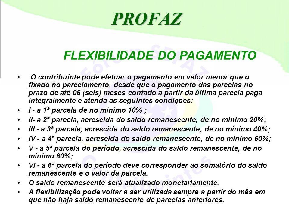 PROFAZ FLEXIBILIDADE DO PAGAMENTO