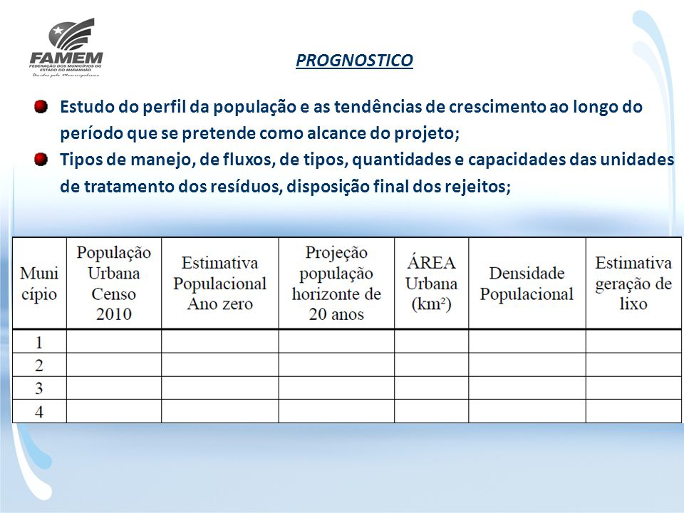 PROGNOSTICO Estudo do perfil da população e as tendências de crescimento ao longo do período que se pretende como alcance do projeto;