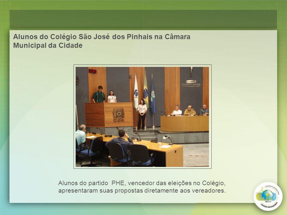 Alunos do Colégio São José dos Pinhais na Câmara Municipal da Cidade