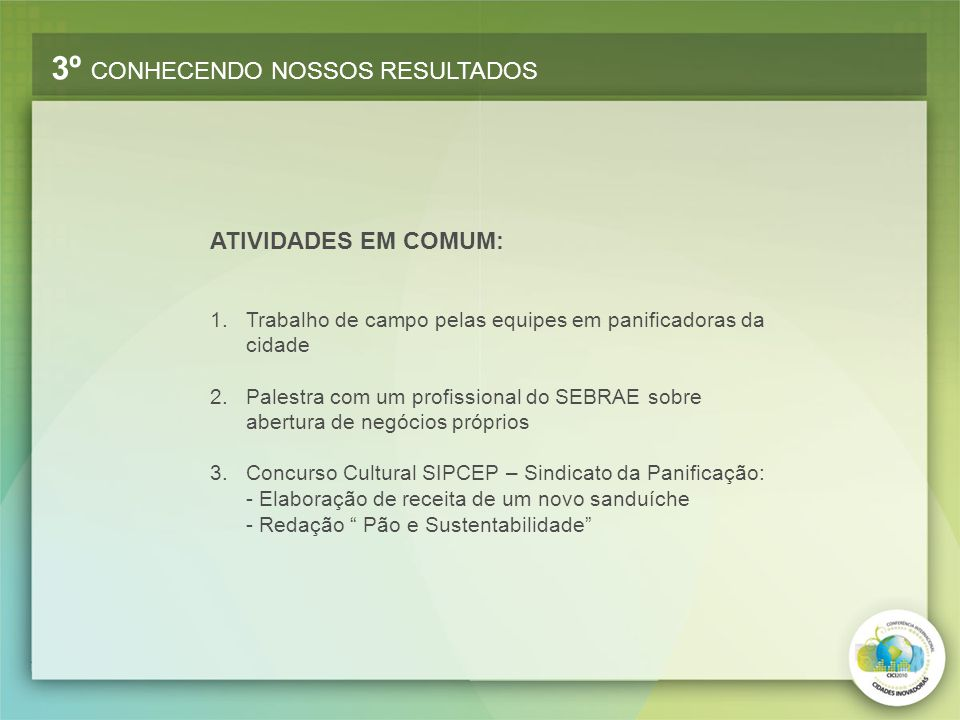 3º CONHECENDO NOSSOS RESULTADOS