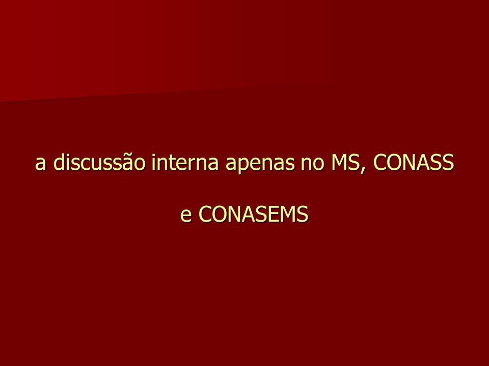 a discussão interna apenas no MS, CONASS e CONASEMS