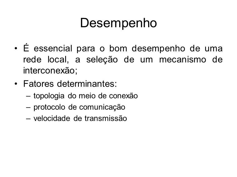 Desempenho É essencial para o bom desempenho de uma rede local, a seleção de um mecanismo de interconexão;