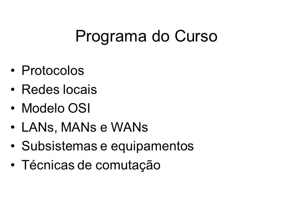 Programa do Curso Protocolos Redes locais Modelo OSI LANs, MANs e WANs