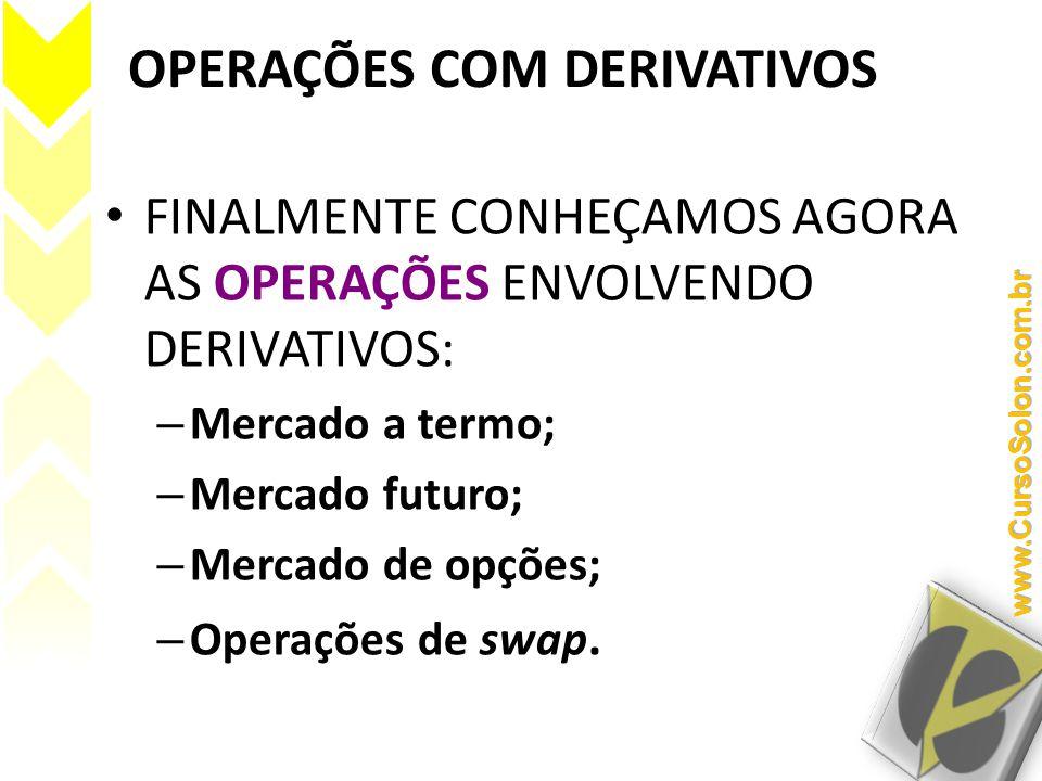OPERAÇÕES COM DERIVATIVOS