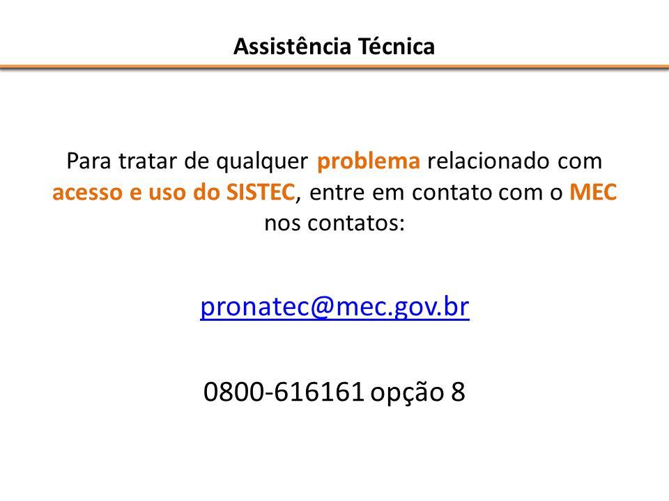 pronatec@mec.gov.br 0800-616161 opção 8 Assistência Técnica