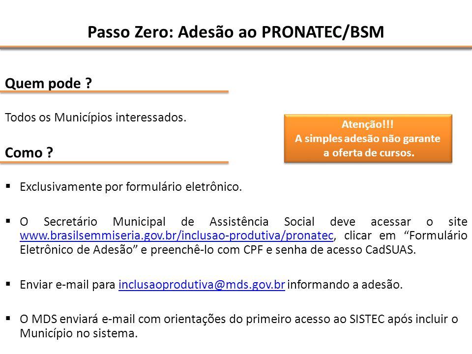 Passo Zero: Adesão ao PRONATEC/BSM