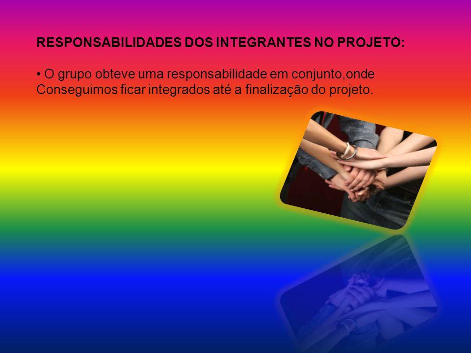 RESPONSABILIDADES DOS INTEGRANTES NO PROJETO: