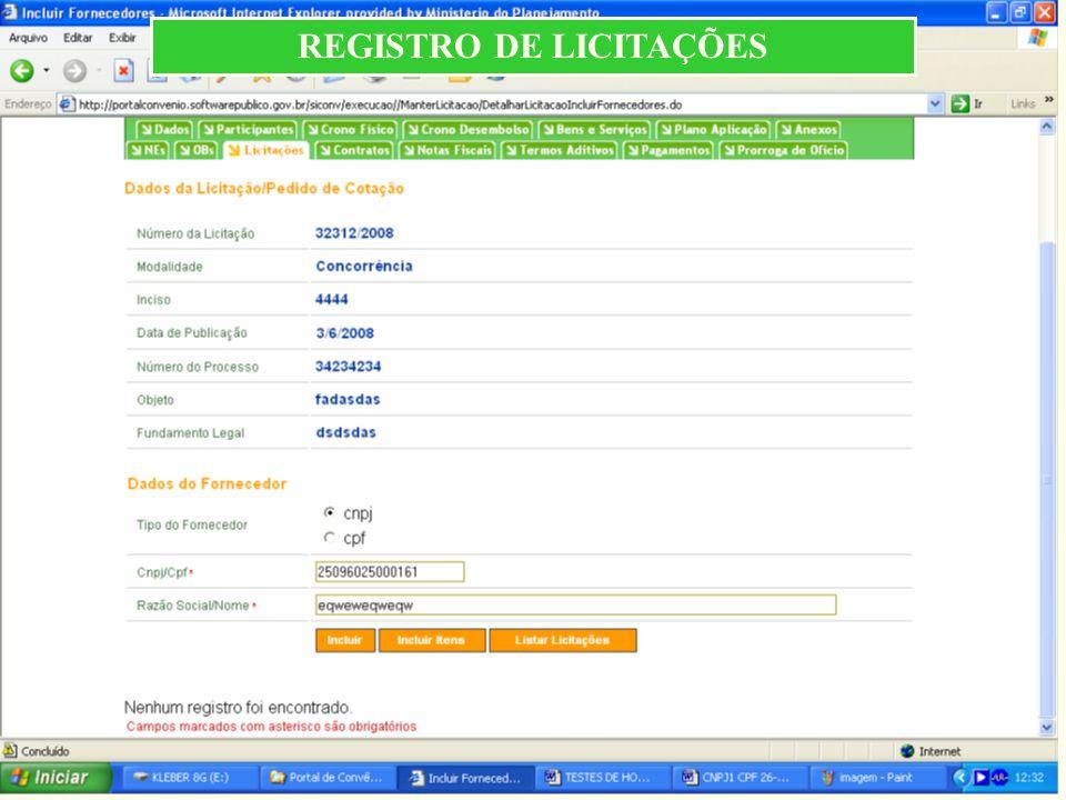 REGISTRO DE LICITAÇÕES
