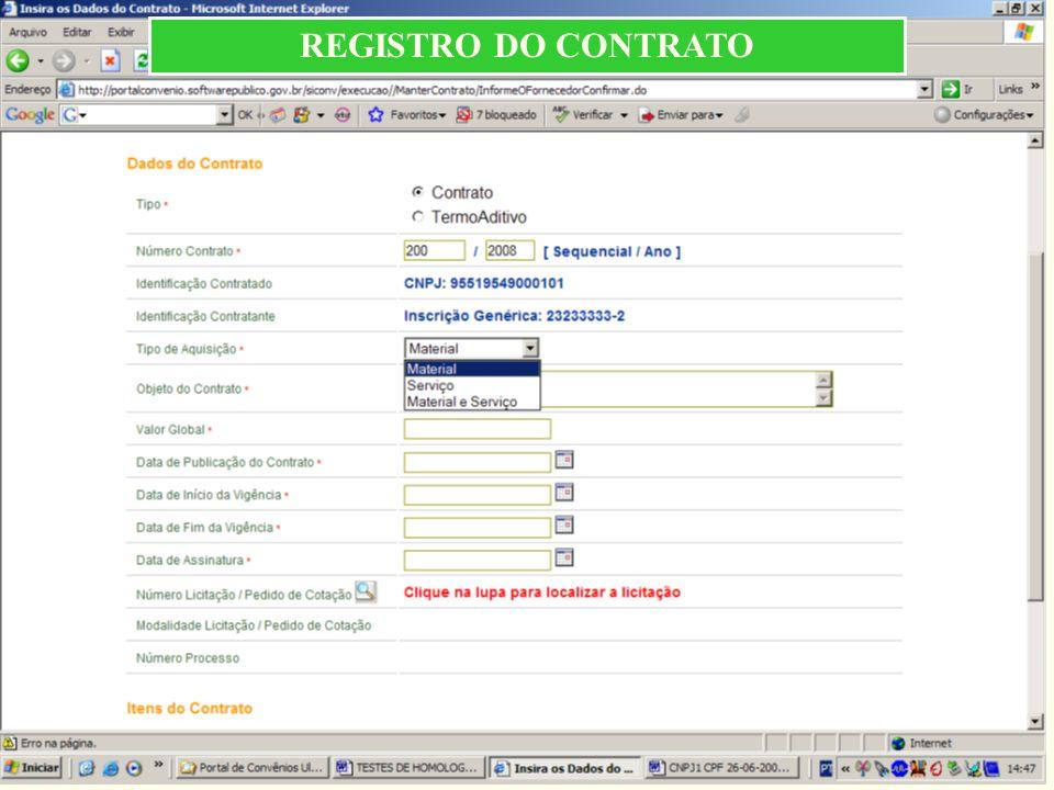 REGISTRO DO CONTRATO