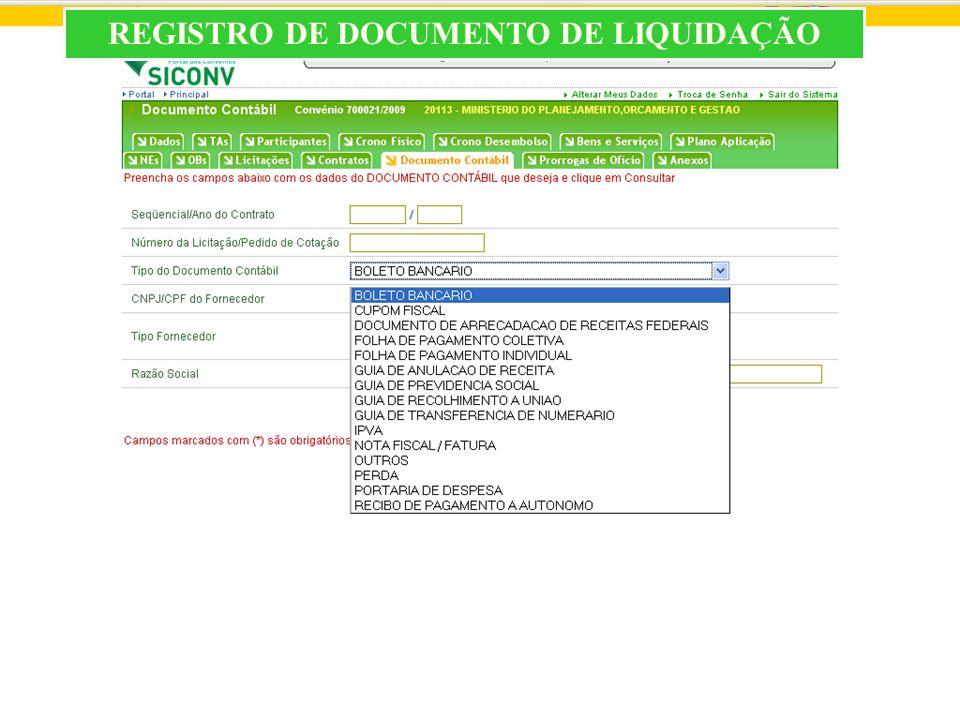 REGISTRO DE DOCUMENTO DE LIQUIDAÇÃO