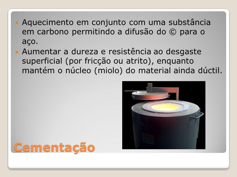 Aquecimento em conjunto com uma substância em carbono permitindo a difusão do © para o aço.