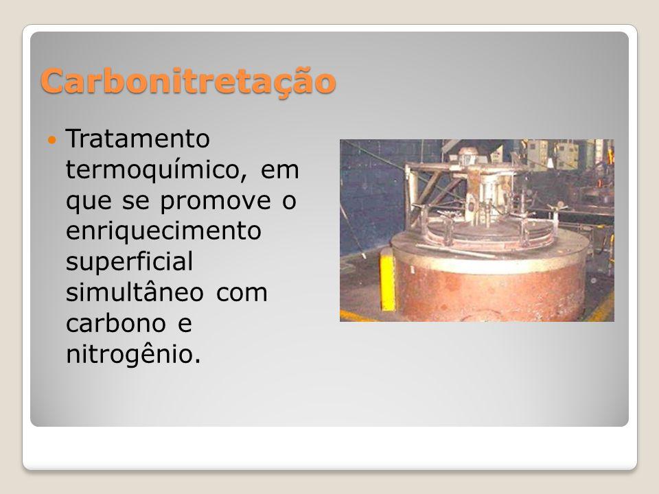 Carbonitretação Tratamento termoquímico, em que se promove o enriquecimento superficial simultâneo com carbono e nitrogênio.