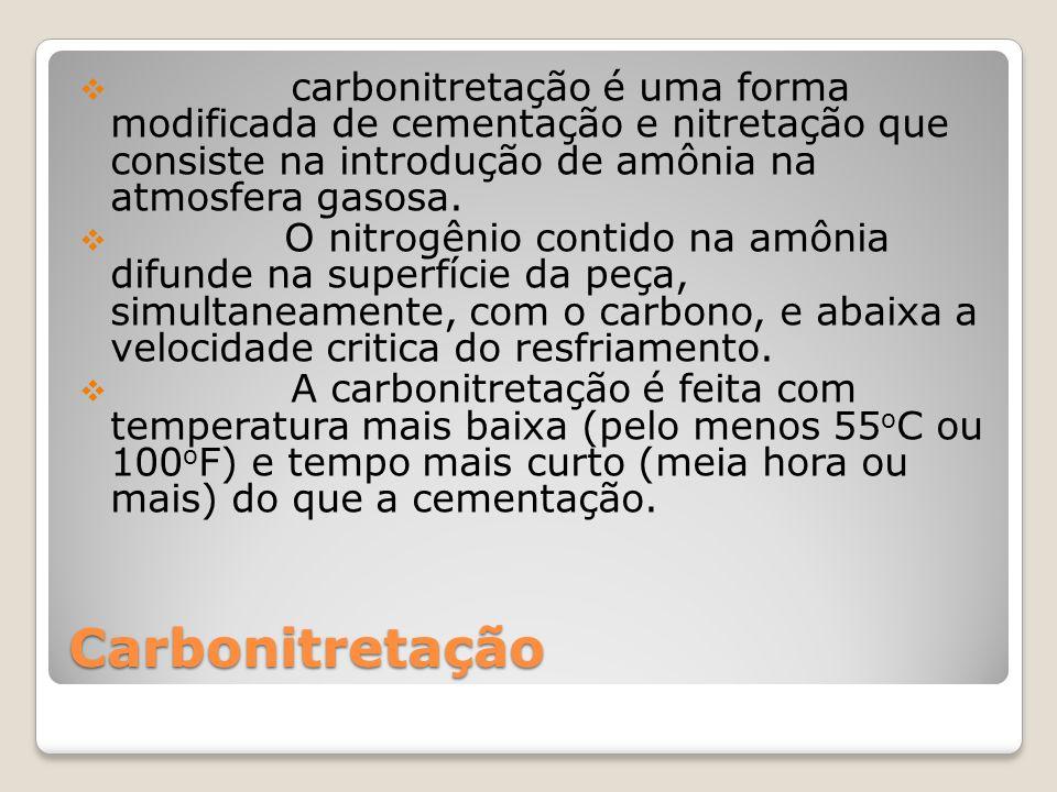 carbonitretação é uma forma modificada de cementação e nitretação que consiste na introdução de amônia na atmosfera gasosa.