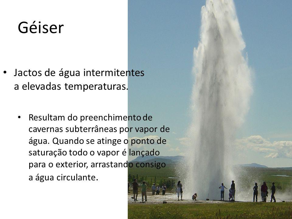 Géiser Jactos de água intermitentes a elevadas temperaturas.