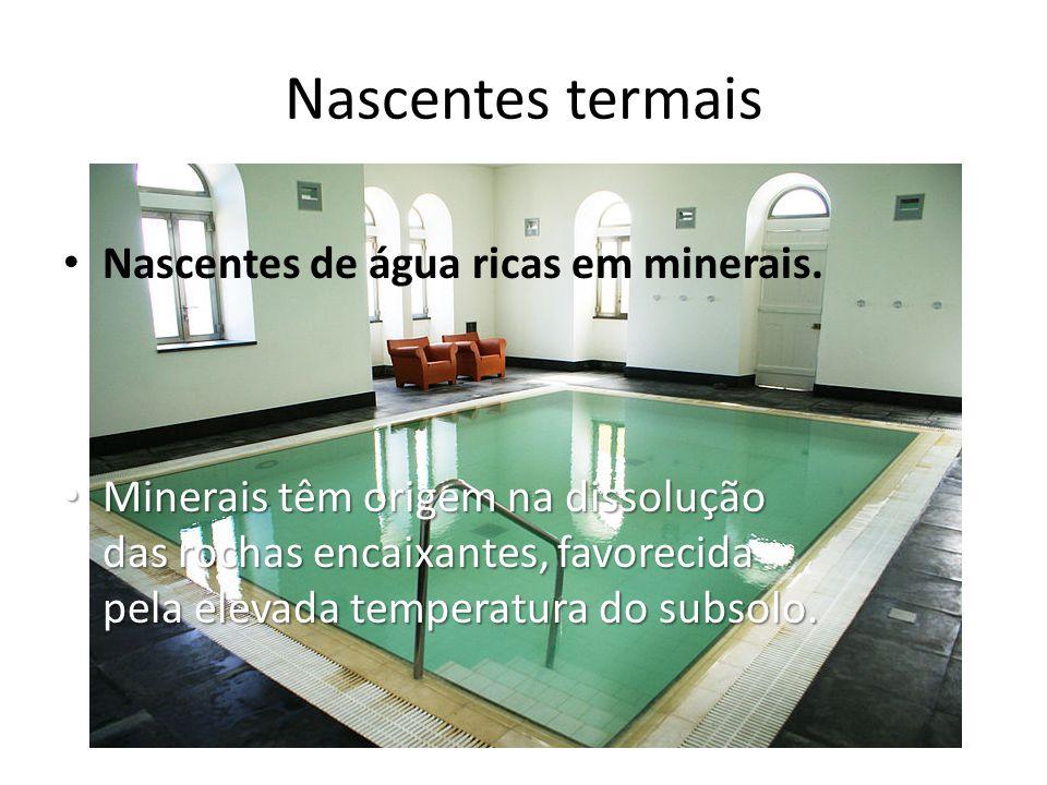 Nascentes termais Nascentes de água ricas em minerais.
