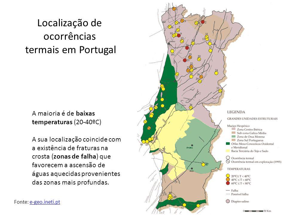 Localização de ocorrências termais em Portugal