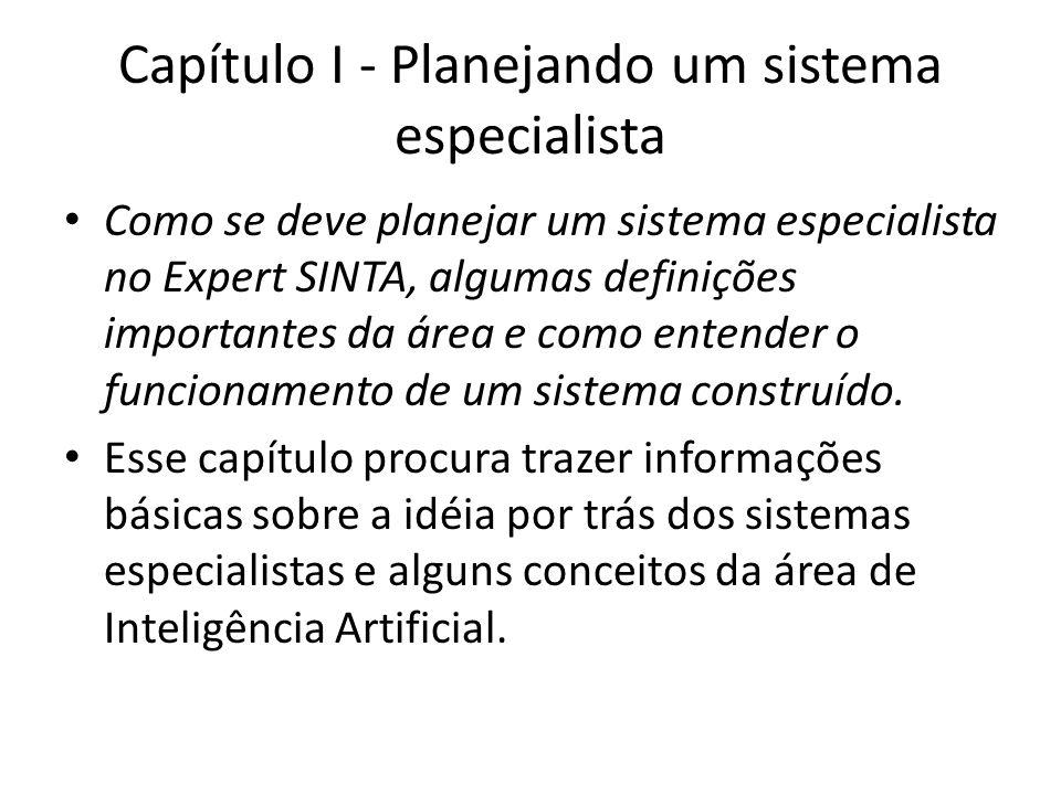 Capítulo I - Planejando um sistema especialista