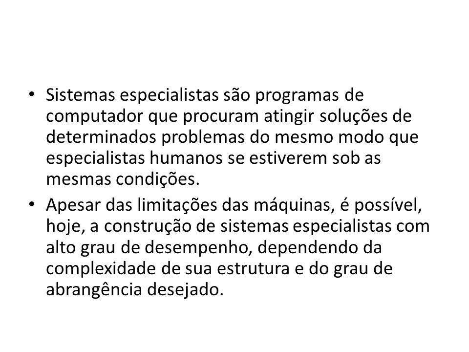 Sistemas especialistas são programas de computador que procuram atingir soluções de determinados problemas do mesmo modo que especialistas humanos se estiverem sob as mesmas condições.