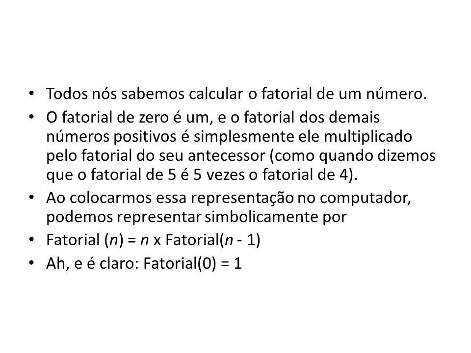 Todos nós sabemos calcular o fatorial de um número.