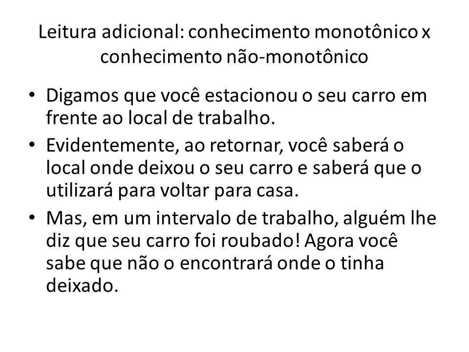 Leitura adicional: conhecimento monotônico x conhecimento não-monotônico