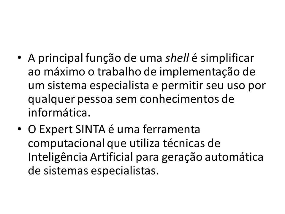 A principal função de uma shell é simplificar ao máximo o trabalho de implementação de um sistema especialista e permitir seu uso por qualquer pessoa sem conhecimentos de informática.