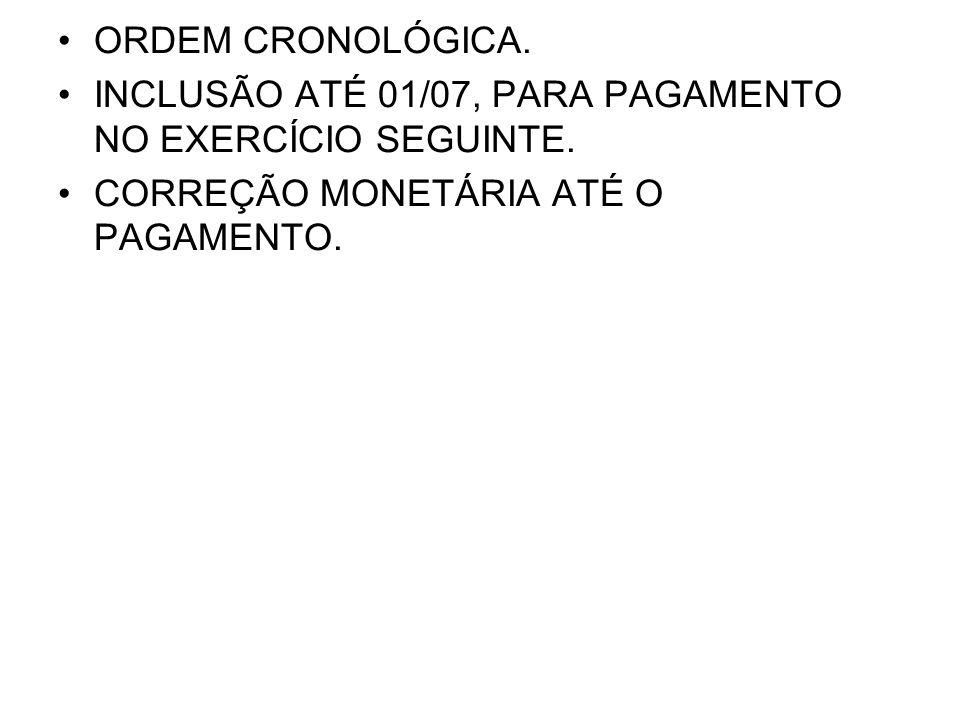 ORDEM CRONOLÓGICA. INCLUSÃO ATÉ 01/07, PARA PAGAMENTO NO EXERCÍCIO SEGUINTE.