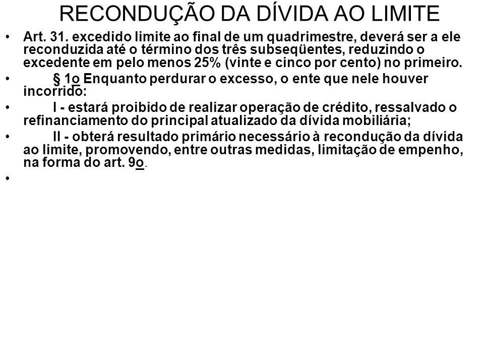 RECONDUÇÃO DA DÍVIDA AO LIMITE