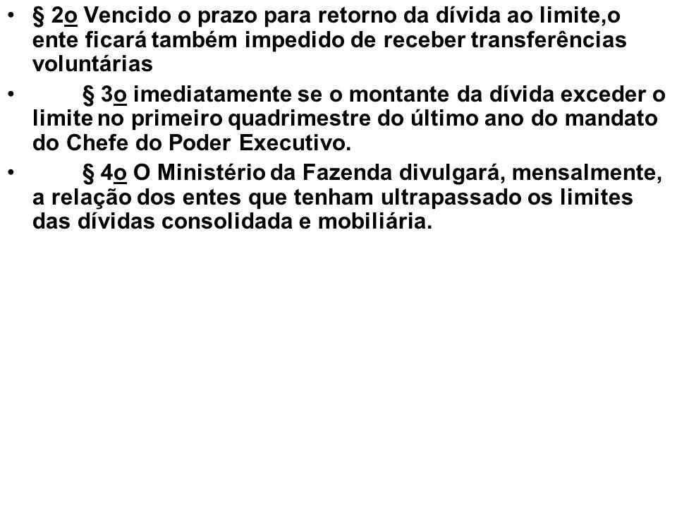 § 2o Vencido o prazo para retorno da dívida ao limite,o ente ficará também impedido de receber transferências voluntárias