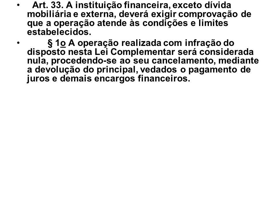 Art. 33. A instituição financeira, exceto dívida mobiliária e externa, deverá exigir comprovação de que a operação atende às condições e limites estabelecidos.