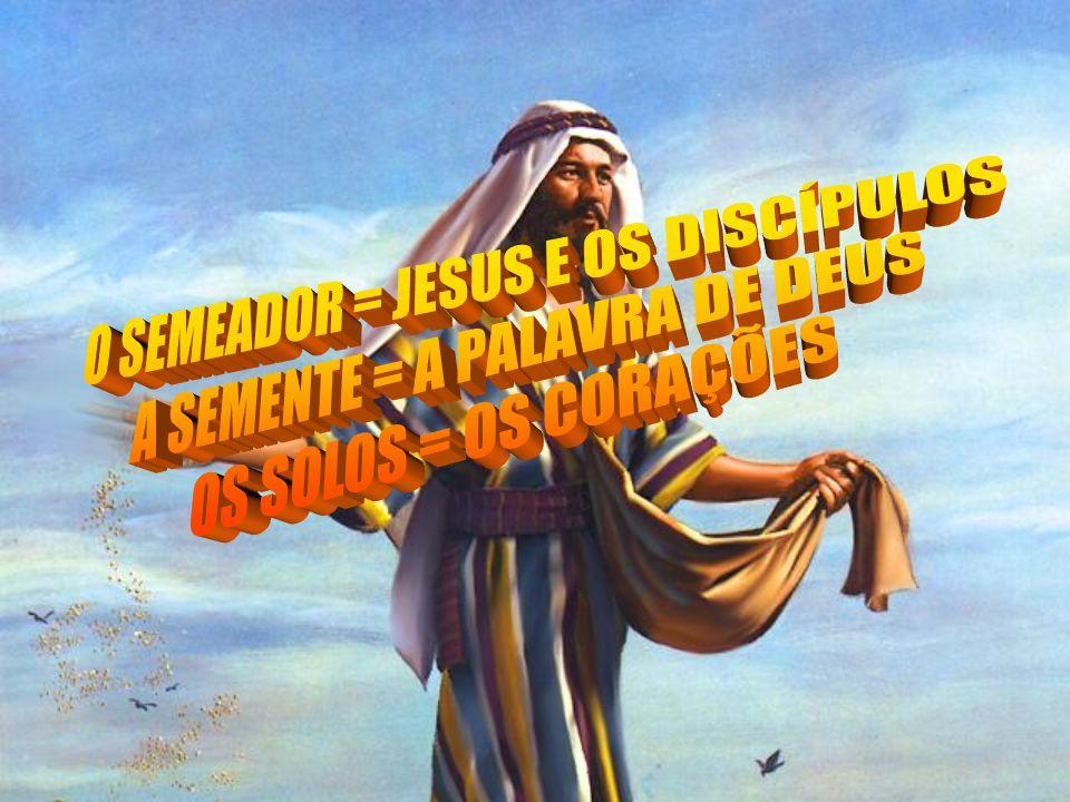 O SEMEADOR = JESUS E OS DISCÍPULOS A SEMENTE = A PALAVRA DE DEUS