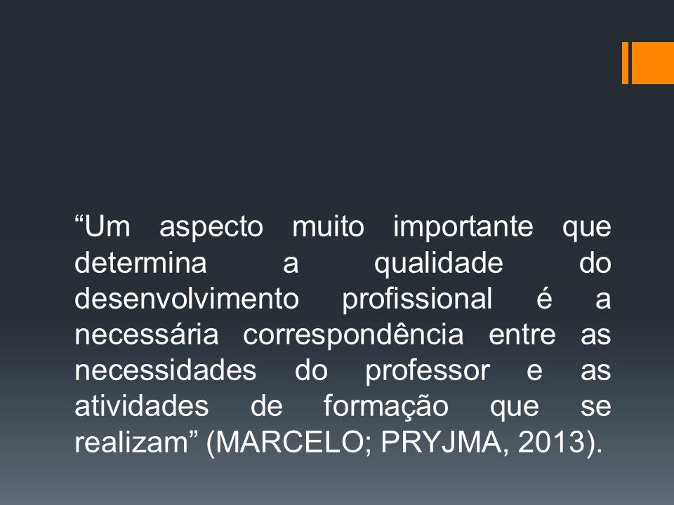 Um aspecto muito importante que determina a qualidade do desenvolvimento profissional é a necessária correspondência entre as necessidades do professor e as atividades de formação que se realizam (MARCELO; PRYJMA, 2013).