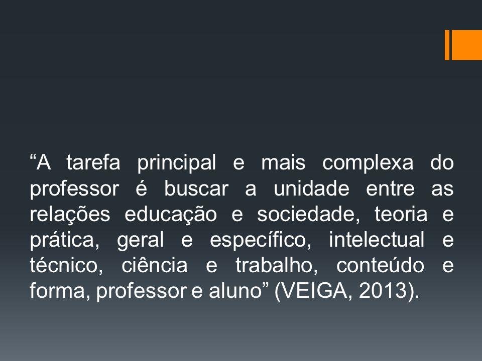 A tarefa principal e mais complexa do professor é buscar a unidade entre as relações educação e sociedade, teoria e prática, geral e específico, intelectual e técnico, ciência e trabalho, conteúdo e forma, professor e aluno (VEIGA, 2013).