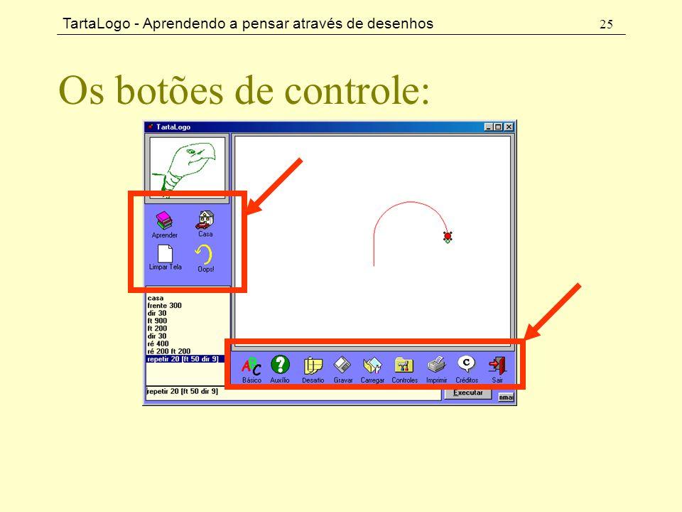 Os botões de controle:
