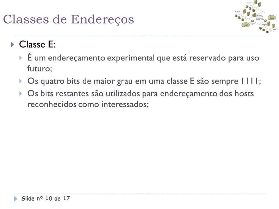 Classes de Endereços Classe E: