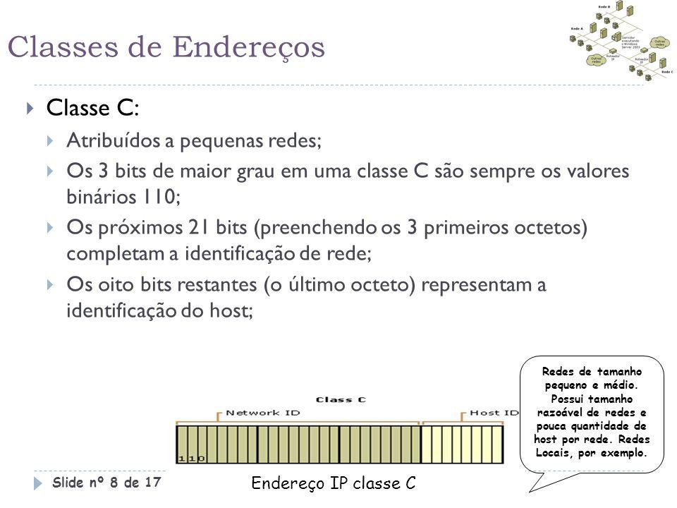 Classes de Endereços Classe C: Atribuídos a pequenas redes;