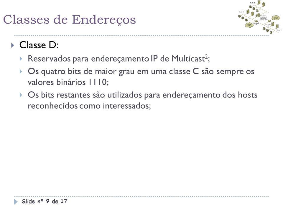 Classes de Endereços Classe D: