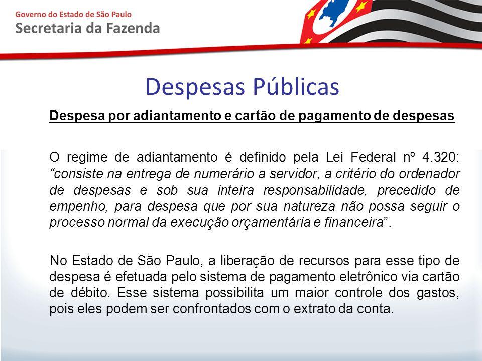Despesas Públicas Despesa por adiantamento e cartão de pagamento de despesas.