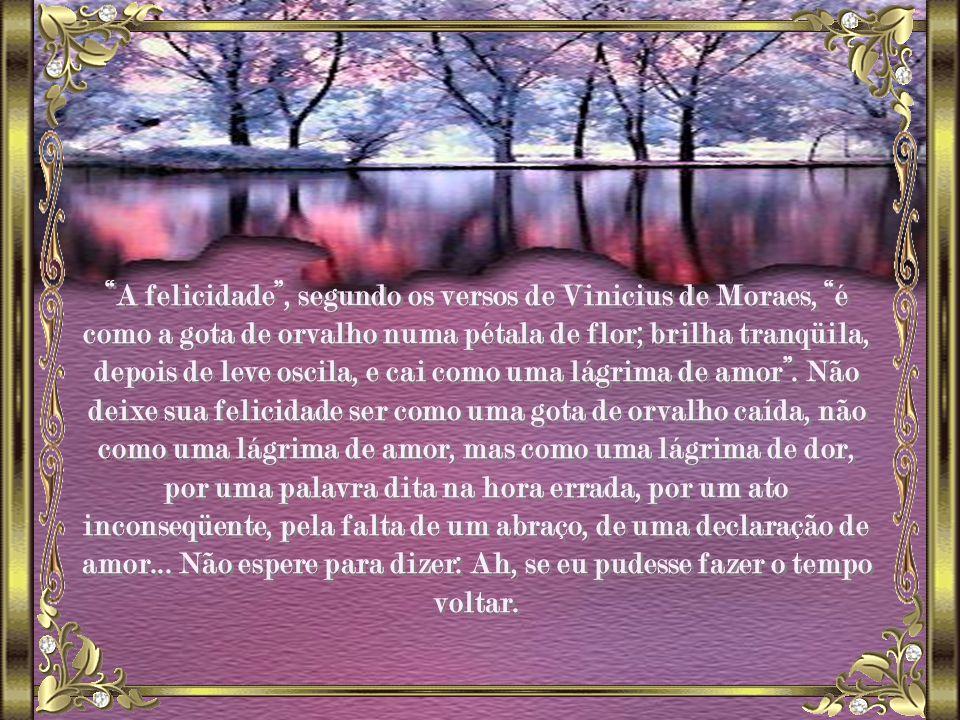 A felicidade , segundo os versos de Vinicius de Moraes, é como a gota de orvalho numa pétala de flor; brilha tranqüila, depois de leve oscila, e cai como uma lágrima de amor .