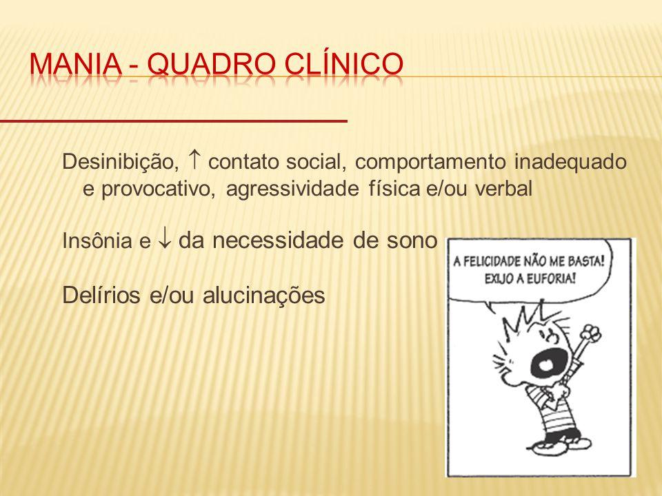 MANIA - quadro clínico Delírios e/ou alucinações