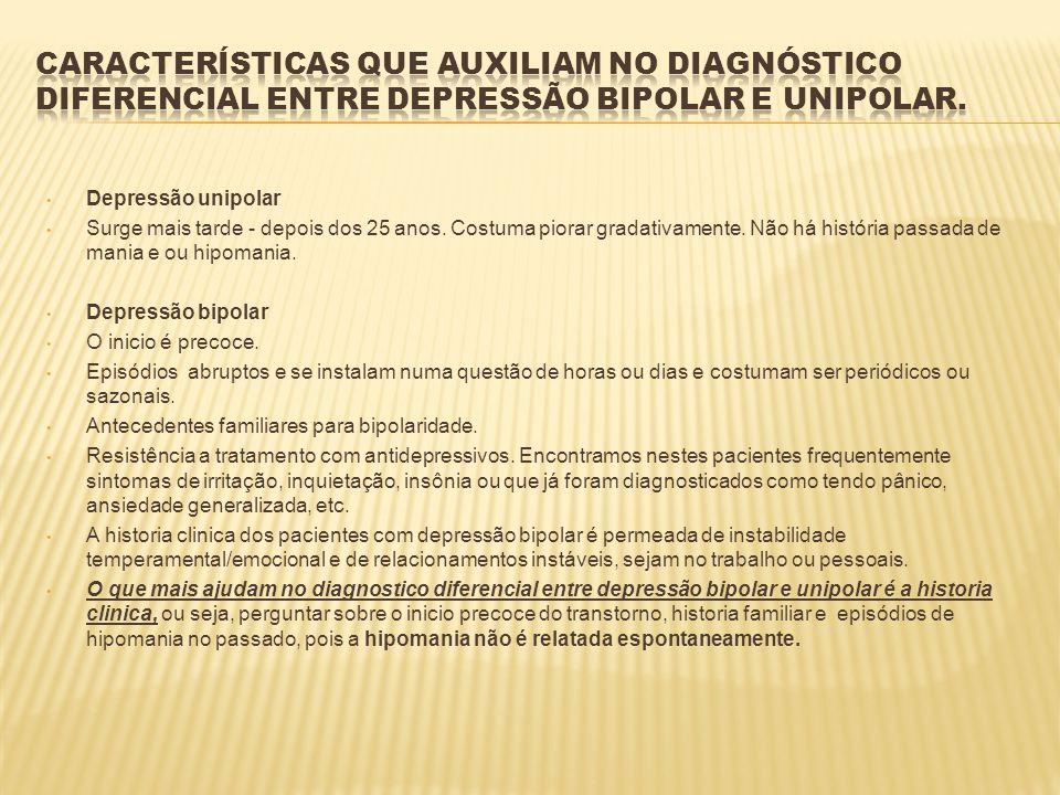 Características que auxiliam no diagnóstico diferencial entre depressão bipolar e unipolar.