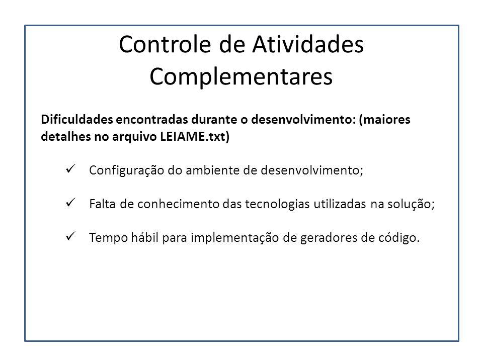 Controle de Atividades Complementares