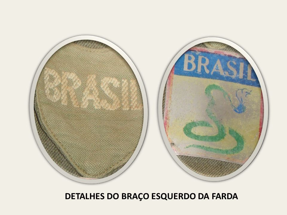 DETALHES DO BRAÇO ESQUERDO DA FARDA