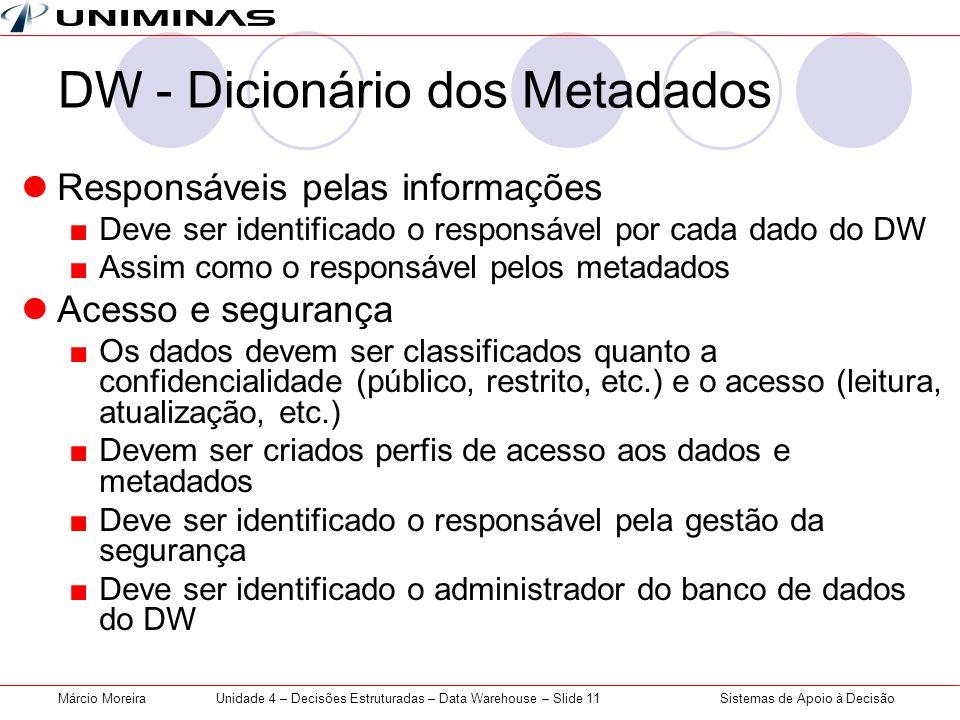 DW - Dicionário dos Metadados