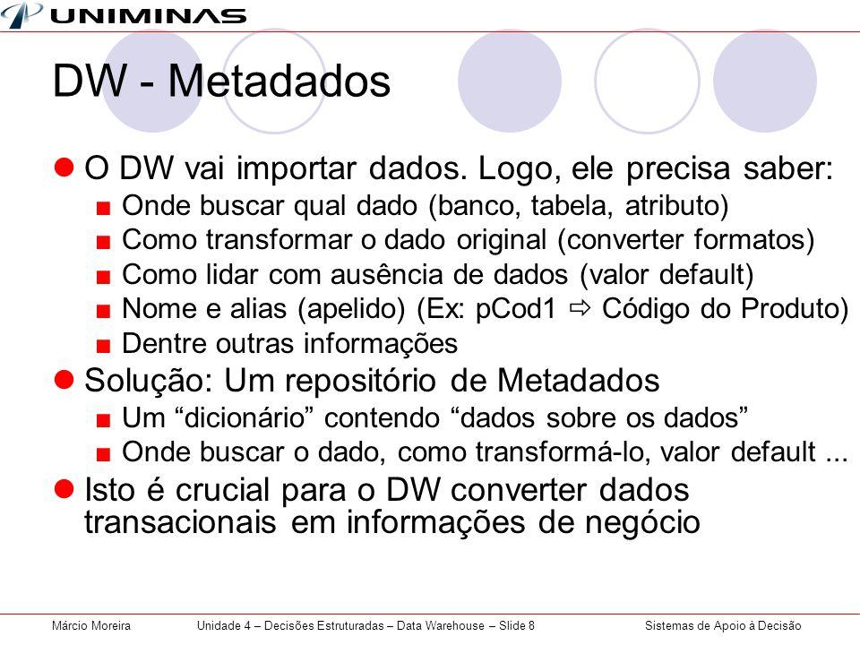 Unidade 4 – Decisões Estruturadas – Data Warehouse – Slide 8