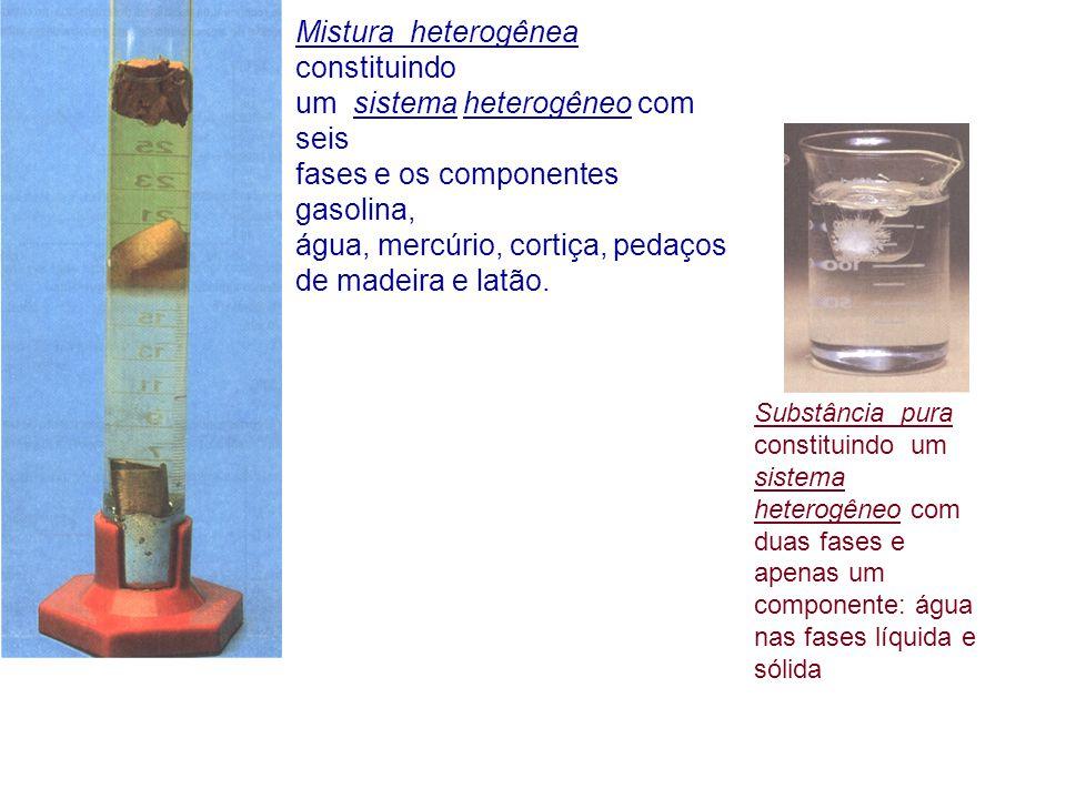 Mistura heterogênea constituindo um sistema heterogêneo com seis